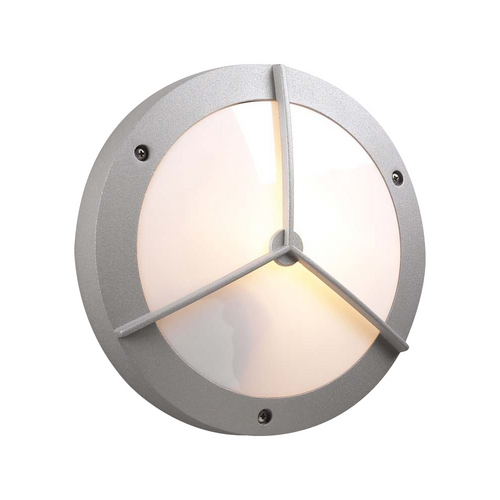 PLC Lighting Modern Outdoor Wall Light with White Glass in Silver Finish 1860 SL