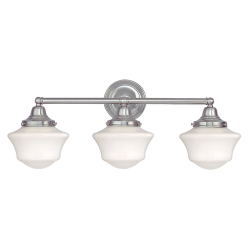 Design Classics Lighting Schoolhouse Bathroom Light with Three Lights in Satin Nickel WC3-09 / GC6