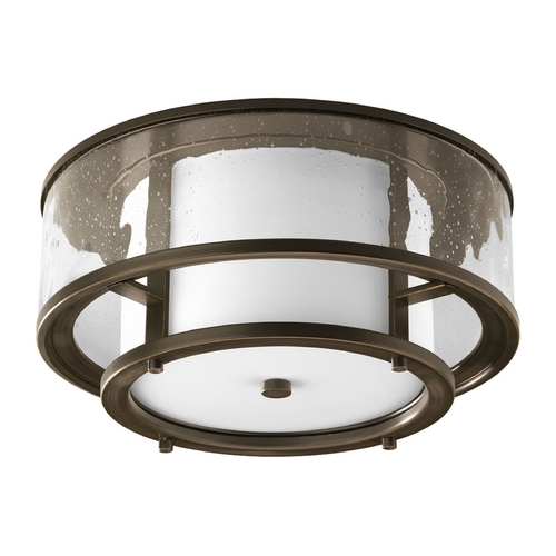 Progress Lighting Progress Bronze Outdoor Ceiling Light with White and Seedy Glass P3942-20