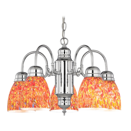 Design Classics Lighting Mini-Chandelier with Art Glass in Chrome Finish 709-26 GL1012MB
