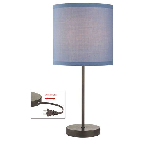 Design Classics Lighting Drum Table Lamp with Blue Linen Shade 1904-604 SH9526