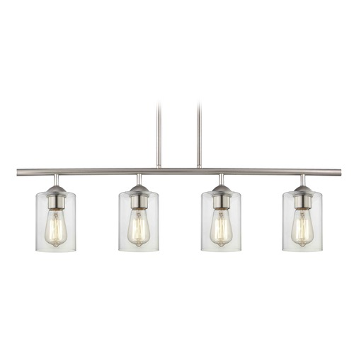 Design Classics Lighting Industrial Linear Pendant Light with 4-Lights and Clear Glass in Satin Nickel Finish 718-09 GL1040C