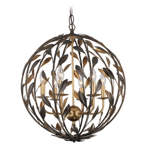 Crystorama Lighting Crystorama Lighting Broche English Bronze / Antique Gold Pendant Light 506-EB-GA