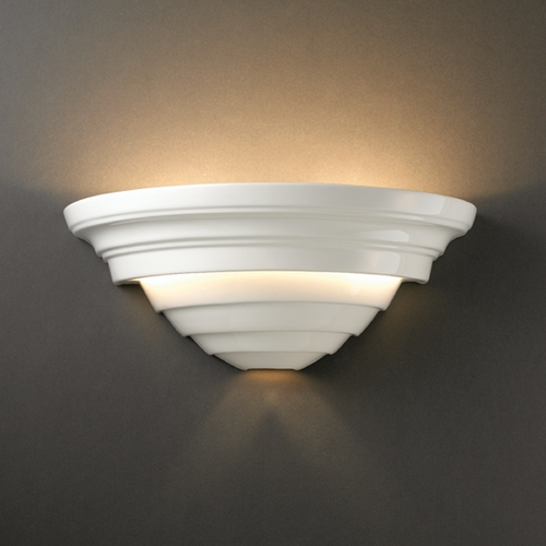 Justice Design Group Sconce Wall Light in Gloss White Finish CER-1555-WHT