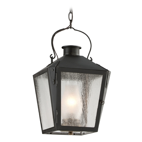 Troy Lighting Outdoor Hanging Light with Clear Glass in Charred Iron Finish F3766NR