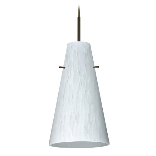 Besa Lighting Besa Lighting Cierro Bronze LED Mini-Pendant Light with Conical Shade 1JT-412419-LED-BR
