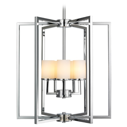 Golden Lighting Golden Lighting Baxley Chrome Pendant Light with Cylindrical Shade 2081-5 CH