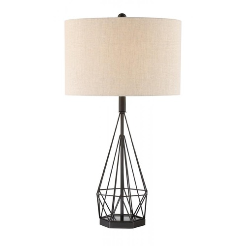 Lite Source Lighting Milton Matte Black Table Lamp With Drum Shade Ls 23056