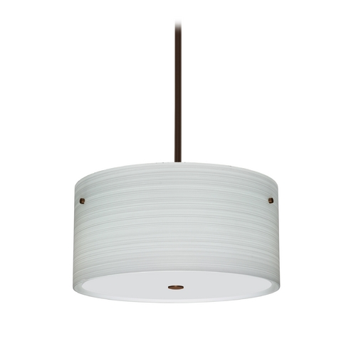 Besa Lighting Modern Pendant Light with Grey Glass in Bronze Finish 1KT-4008KR-BR