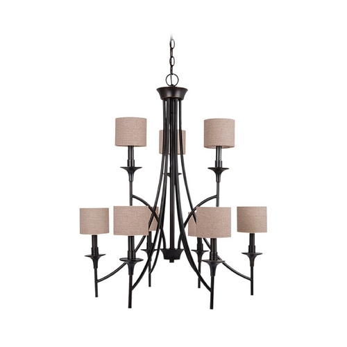 Sea Gull Lighting Chandelier with Beige / Cream Shades in Burnt Sienna Finish 31952-710