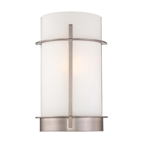 Minka Lavery Sconce Wall Light with White Glass in Brushed Nickel Finish 6460-84