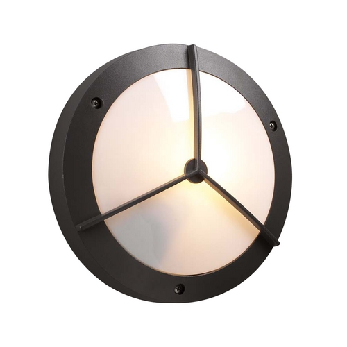 PLC Lighting Modern Outdoor Wall Light with White Glass in Bronze Finish 1860 BZ