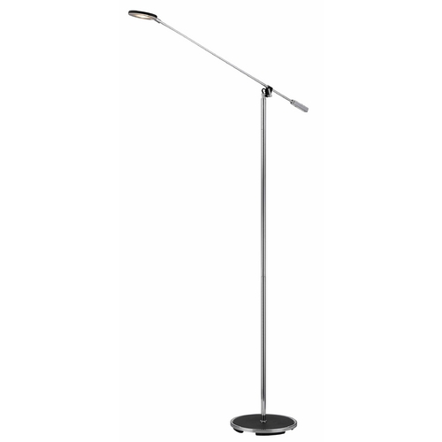LEDs by ZEPPELIN Black with Chrome Accents Disk LED Floor Lamp 121 BK/CH