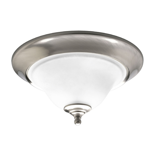 Progress Lighting Progress Flushmount Light with White Glass in Brushed Nickel Finish P3476-09