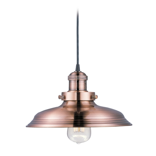 Maxim Lighting Maxim Lighting Mini Hi-Bay Antique Copper Pendant Light with Bowl / Dome Shade 25022ACP/BUI
