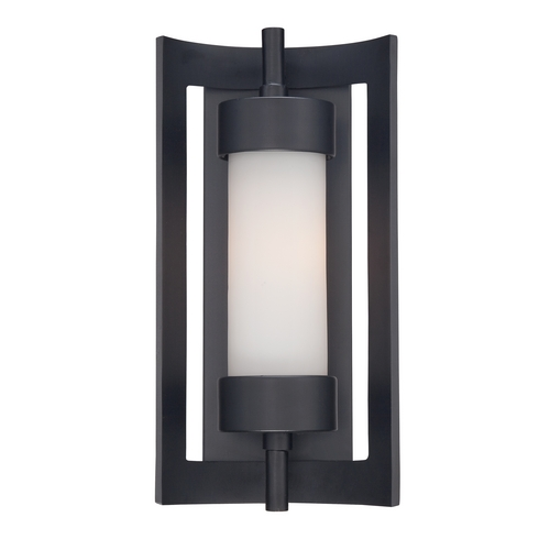Quoizel Lighting Outdoor Wall Light with White Glass in Mystic Black Finish MLN8307K
