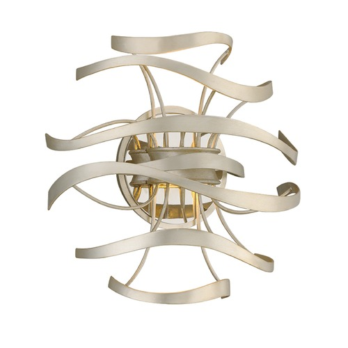 Corbett Lighting Corbett Lighting Calligraphy Silver Leaf and Polished Stainless Accents LED Sconce 213-12