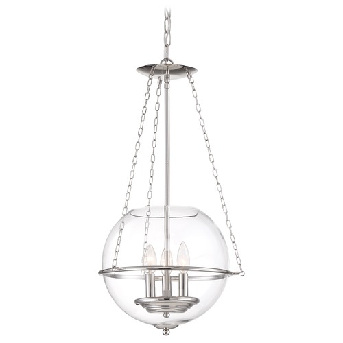 Nuvo Lighting Satco Lighting Odyssey Polished Nickel Pendant Light with Globe Shade 60/6952