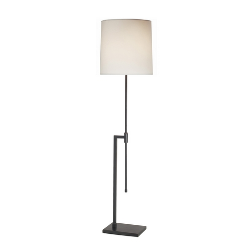 Sonneman Lighting Modern Floor Lamp with White Shade in Black Brass Finish 7008.51