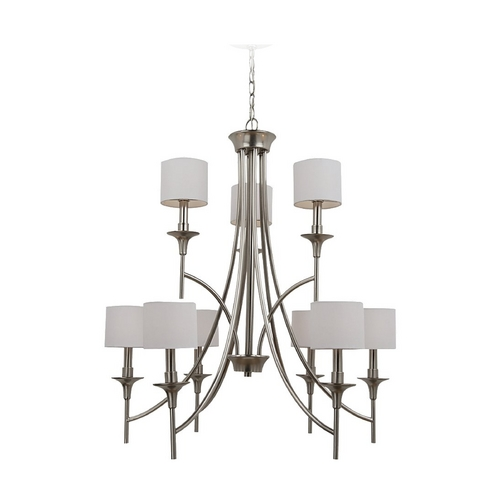 Sea Gull Lighting Sea Gull Lighting 9-Light Chandelier with White Shade in Brushed Nickel 31952-962