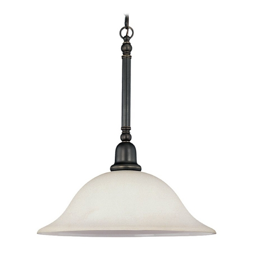 Sea Gull Lighting Pendant Light with White Glass in Heirloom Bronze Finish 69561BLE-782