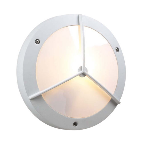 PLC Lighting Modern Outdoor Wall Light with White Glass in White Finish 1859 WH