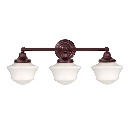 Design Classics Lighting Schoolhouse Bathroom Light with Three Lights in Bronze Finish WC3-220 / GC6
