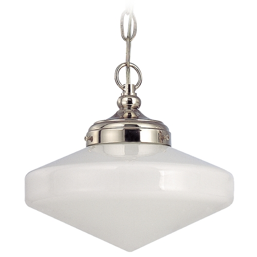 Design Classics Lighting 10-Inch Polished Nickel Schoolhouse Mini-Pendant Light with Chain FA4-15 / GE10 / A-15