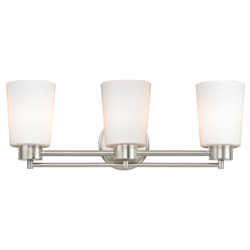 Design Classics Lighting Modern Bathroom Light with White Glass in Satin Nickel Finish 703-09 GL1027