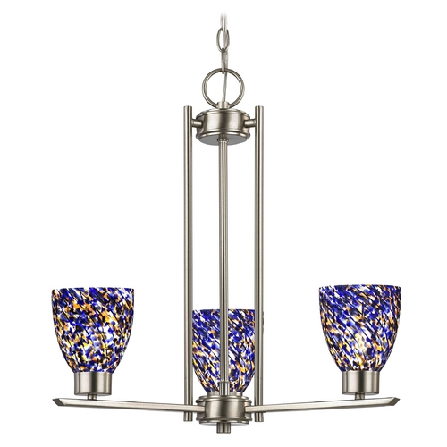 Design Classics Lighting Chandelier with Blue Art Glass in Satin Nickel Finish - 3-Lights 1121-1-09 GL1009MB