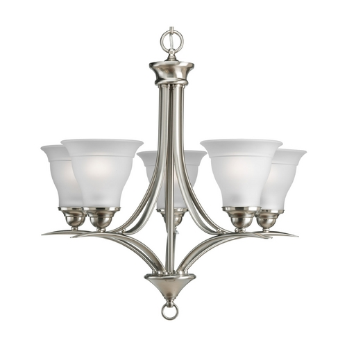 Progress Lighting Progress Chandelier with White Glass in Brushed Nickel Finish P4328-09EBWB