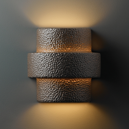 Justice Design Group Sconce Wall Light in Hammered Iron Finish CER-2215-HMIR