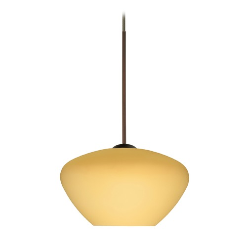 Besa Lighting Besa Lighting Peri Bronze LED Mini-Pendant Light with Bell Shade 1XT-5410VM-LED-BR