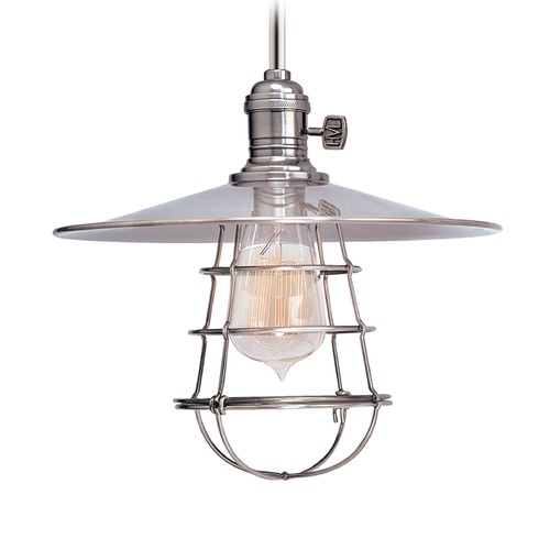 Hudson Valley Lighting Hudson Valley Lighting Heirloom Polished Nickel Pendant Light with Coolie Shade 9001-PN-MS1-WG