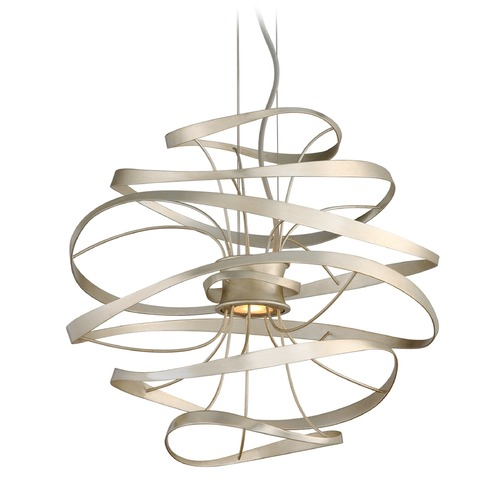 Corbett Lighting Corbett Lighting Calligraphy Silver Leaf and Polished Stainless Accents LED Pendant Light 213-41