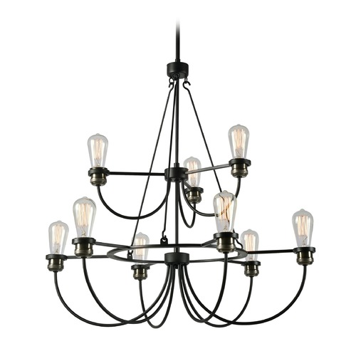 Kenroy Home Lighting Industrial Edison Bulb Chandelier Black with Brass 30-Inch by Kenroy Home Lighting 93899BL