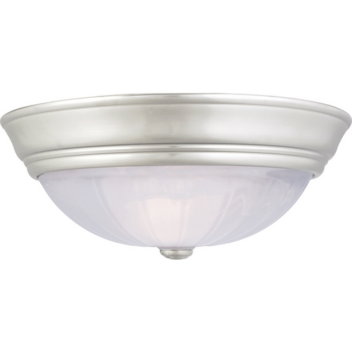 Quoizel Lighting Flushmount Light with Alabaster Glass in Empire Silver Finish AL183ES