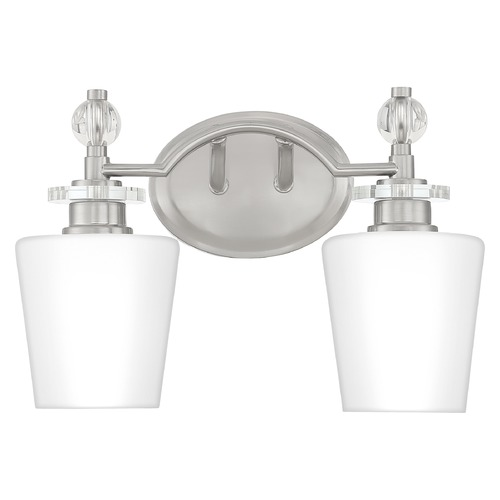 Quoizel Lighting Quoizel Lighting Hollister Brushed Nickel 2-Light Bathroom Light with Opal Glass HS8602BN