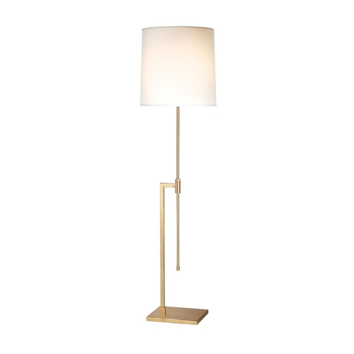 Sonneman Lighting Modern Floor Lamp with White Shade in Satin Brass Finish 7008.38