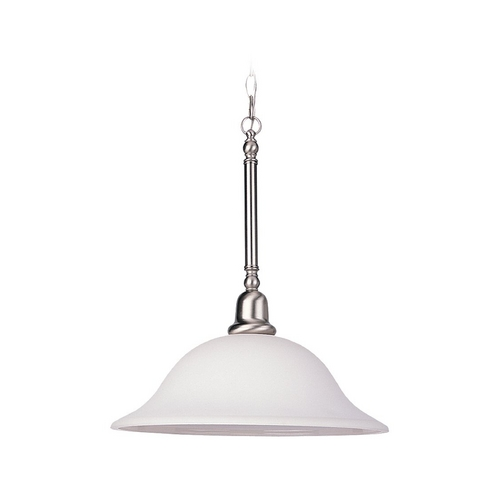 Sea Gull Lighting Pendant Light with White Glass in Brushed Nickel Finish 69561BLE-962