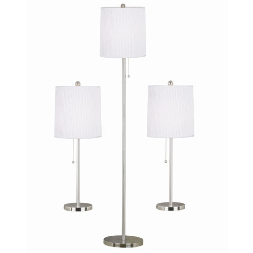 Kenroy Home Lighting Modern Table and Floor Lamp Sets in Brushed Steel Finish 21016BS