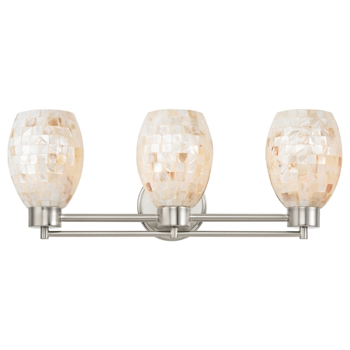 Design Classics Lighting Bathroom Light with Mosaic Glass in Satin Nickel Finish 703-09 GL1034