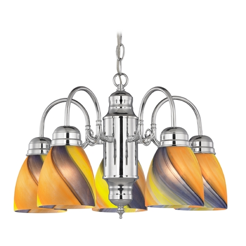 Design Classics Lighting Mini-Chandelier with Art Glass in Chrome Finish 709-26 GL1015MB