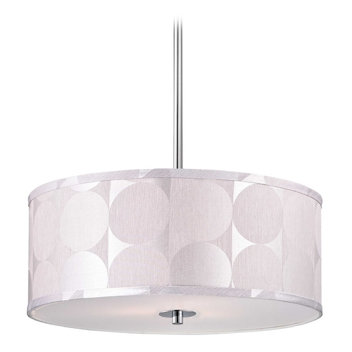 Design Classics Lighting Modern Chrome Pendant Light with Silver Deco Drum Shade DCL 6528-26 SH7558