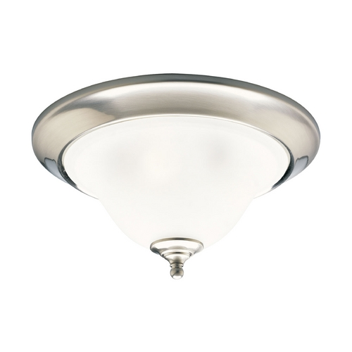 Progress Lighting Progress Flushmount Light with White Glass in Brushed Nickel Finish P3477-09