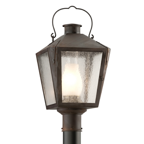 Troy Lighting Post Light with Clear Glass in Charred Iron Finish P3764NR