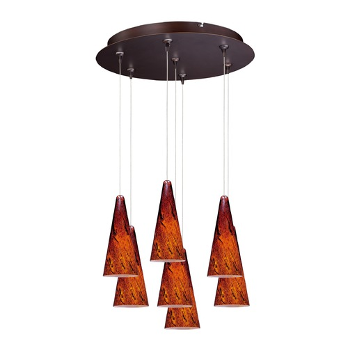 ET2 Lighting Minx Bronze Multi-Light Pendant with Conical Shade E93729-102BZ