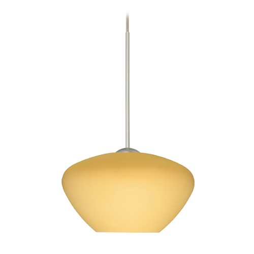 Besa Lighting Besa Lighting Peri Satin Nickel LED Mini-Pendant Light with Bell Shade 1XT-5410VM-LED-SN