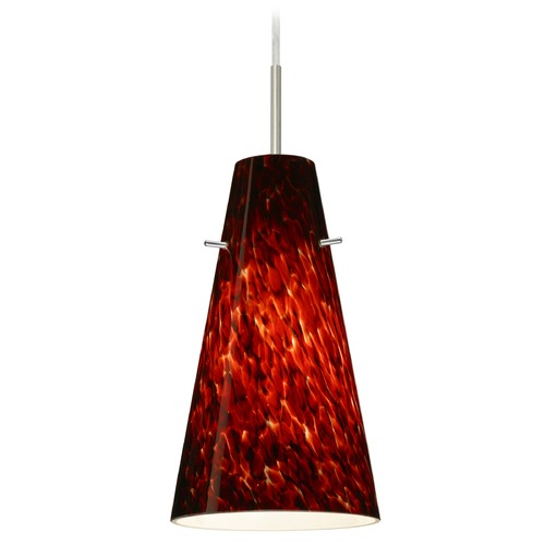 Besa Lighting Besa Lighting Cierro Satin Nickel LED Mini-Pendant Light with Conical Shade 1JT-412441-LED-SN