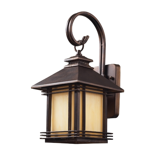 Elk Lighting Outdoor Wall Light with Beige / Cream Glass in Hazlenut Bronze Finish 42100/1
